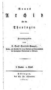 Neues Archiv für die Theologie: Band 5
