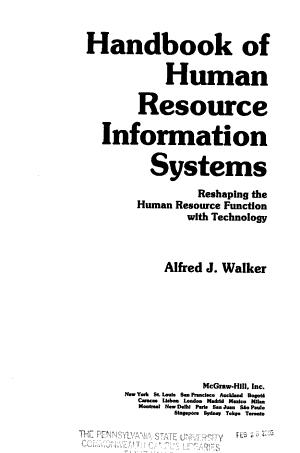 Handbook of Human Resource Information Systems PDF
