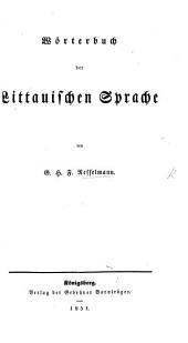Wörterbuch der Littauischen Sprache