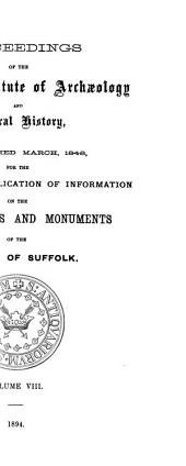 Proceedings of the Suffolk Institute of Archaeology and Natural History: Volume 8