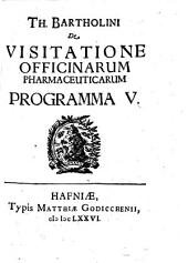 De Visitatione Officinarum Pharmaceuticarum: Programma. V.