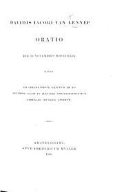 Davidis Jacobi van Lennep Oratio die 19 Novembris 1849 habita ad celebrandum exactum ab eo decimum gesti in illustri Amstelodamensium Athenaeo muneris lustrum