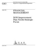 Financial management DOD improvement plan needs strategic focus  PDF