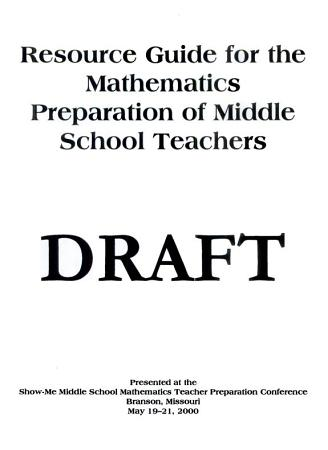 Resource Guide for the Mathematics Preparation of Middle School Teachers PDF