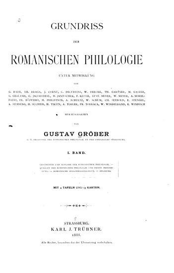 Grundriss der romanischen Philologie PDF