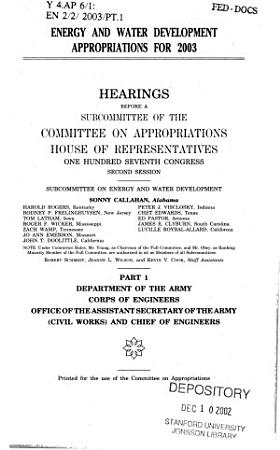Energy and water development appropriations for 2003 PDF
