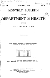 Monthly Bulletin of the Department of Health in the City of New York: Volumes 3-5