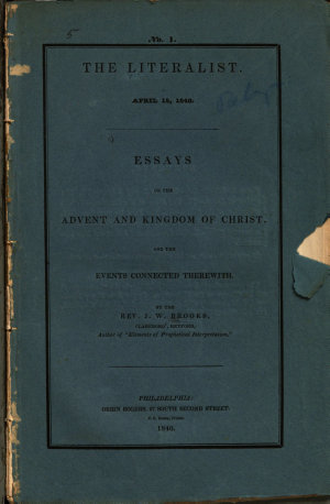 Essays on the Advent and Kingdom of Christ