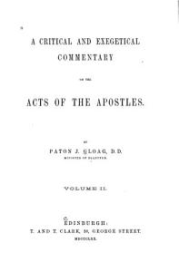 A Critical and Exegetical Commentary on the Acts of the Apostles PDF