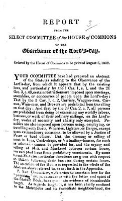 Report from the Select Committee of the House of Commons on the Observance of the Lord s Day     August     1832