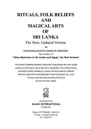 Rituals, Folk Beliefs, and Magical Arts of Sri Lanka