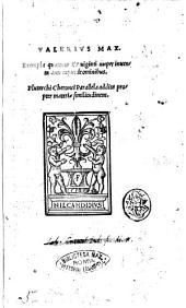 Exempla quattuor & uiginti nuper inuenta ante caput de omnibus. Valerius Max.Plutarchi cheronei Parallela addita propter materiae similitudinem