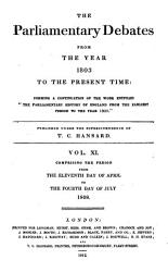 The Parliamentary Debates From The Year 1803 To The Present Time 11 Book PDF