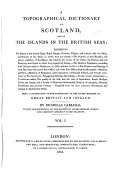 A Topographical Dictionary of Scotland, and of the Islands in the British Seas