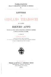 Lettere di Girolamo Tiraboschi al padre Ireneo Affò: tratte da' codici della Biblioteca Estense di Modena e della Palatina di Parma