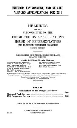 Interior  Environment  and Related Agencies Appropriations for 2011  Part 1B  111 2 Hearings PDF