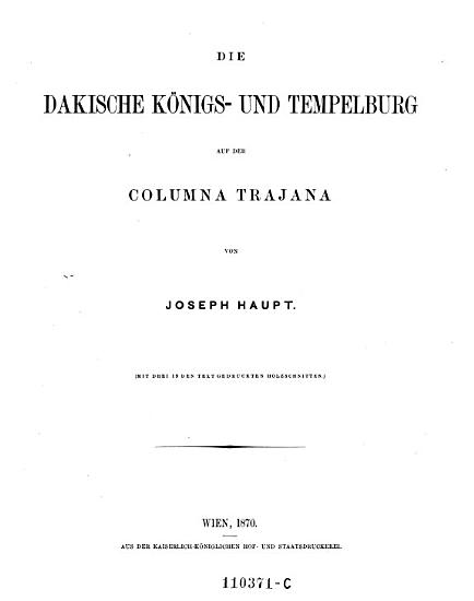 Die dakische K  nigs  und Tempelburg auf der Columna Trajana PDF