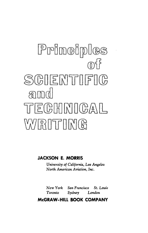 Principles of Scientific and Technical Writing