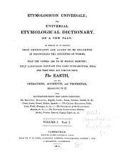 Etymologicon Universale, Or Universal Etymological Dictionary on a New Plan: Volume 1, Issue 1