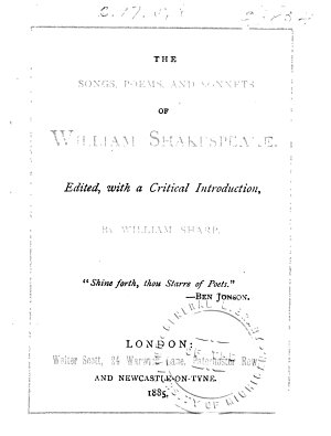 The Songs  Poems  and Sonnets of William Shakespeare
