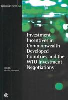 Investment Incentives in Commonwealth Developed Countries and the WTO Investment Negotiations PDF