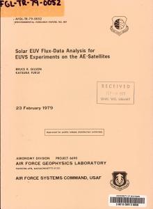Solar EUV Flux data Analysis for EUVS Experiments on the AE satellites PDF