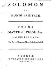 Solomon de mundi vanitate: poema