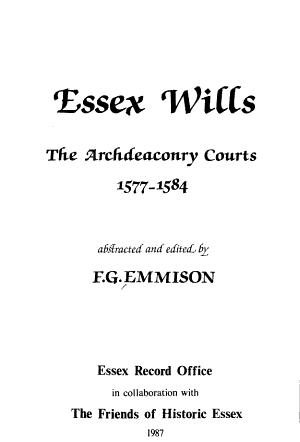 Essex Wills (England): 1577-1584