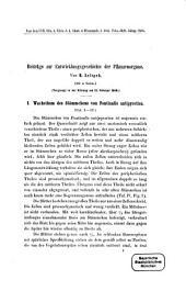 Beiträge zur Entwicklungsgeschichte der Pflanzenorgane