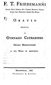 Oratio habita in gymnasio Catharino ducali Brunovicensi: 16 März 1826