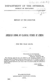 Report of the Director of the American School of Classical Studies at Athens for the Year 1882-'83