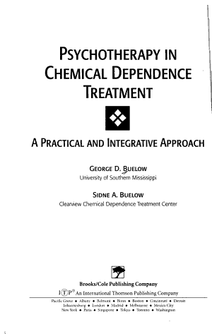 Psychotherapy in Chemical Dependence Treatment PDF
