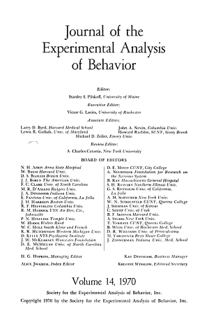 Journal of the Experimental Analysis of Behavior PDF