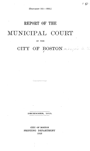 Report of the Municipal Court of the City of Boston PDF