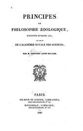Principes de philosophie zoologique