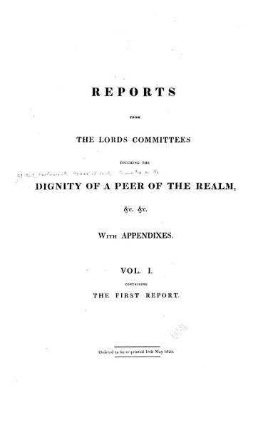 Download First report  25th May 1820 Book