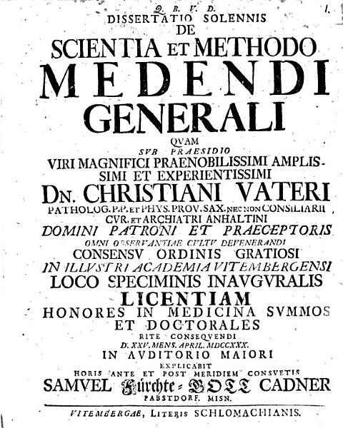 Diss Sol De Scientia Et Methodo Medendi Generali