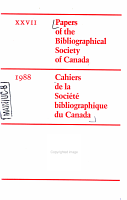 Papers of the Bibliographical Society of Canada PDF
