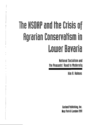 The NSDAP and the Crisis of Agrarian Conservatism in Lower Bavaria