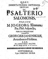Diss. hist. crit. de psalterio Salomonis
