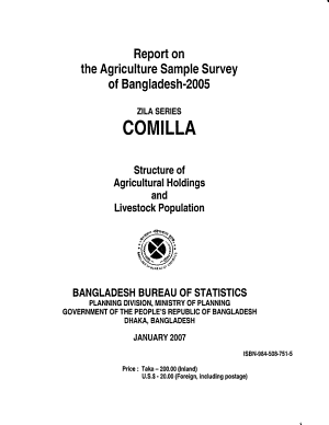 Report on the Agriculture Sample Survey of Bangladesh  2005  Comilla PDF