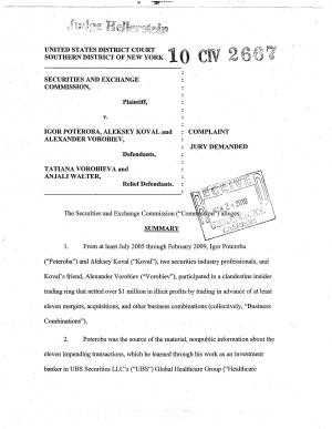 Igor Poteroba  Aleksey Koval  Alexander Vorobiev  and Relief Defendants Tatiana Vorobieva and Anjali Walter  Securities and Exchange Commission Litigation Complaint PDF