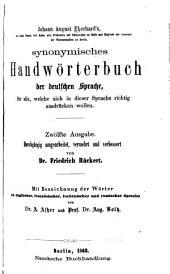 Synonymisches Handwörterbuch der deutschen Sprache: für alle, welche sich in dieser Sprache richtig ausdrücken wollen