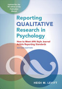 Reporting Qualitative Research in Psychology Book