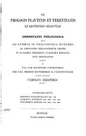 De prologis Plautinis et Terentianis quaestiones selectae