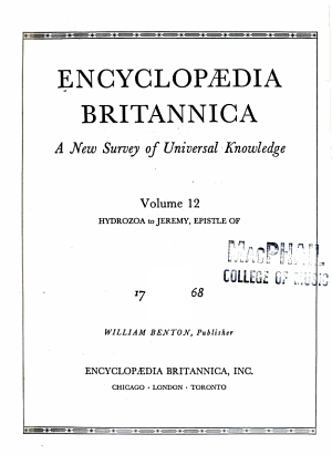 Encyclopaedia Britannica, a New Survey of Universal Knowledge