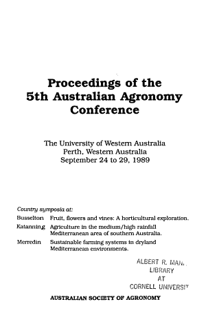 Proceedings of the 5th Australian Agronomy Conference
