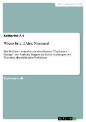 """Wieso bricht Alex Normen?: Das Verhalten von Alex aus dem Roman """"Clockwork Orange"""" von Anthony Burgess im Lichte soziologischer Theorien abweichenden Verhaltens"""