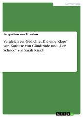 """Vergleich der Gedichte """"Die eine Klage"""" von Karoline von Günderode und """"Der Schnee"""" von Sarah Kirsch"""