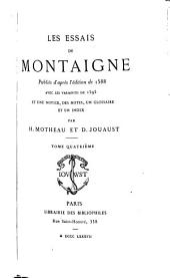 Les essais de Montaigne: Volume4